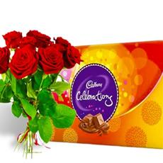 Fresh red roses and Cadbury celebrations
