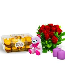 Ferrero Rocher Luxury Chocolate box  and Fresh red roses With scented candles and Teddy