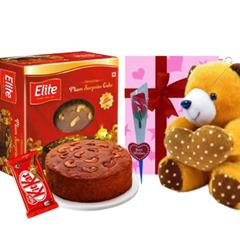 Elite Rich plum cake and Teddy bear combo