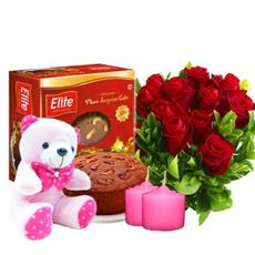 Elite Rich plum cake Rose Flower and Teddy Bear combo