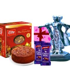 Elite Rich plum cake and Metalic Statue combo for couples