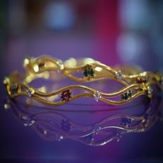 SG Gold Plated Stone Bangle set For Her