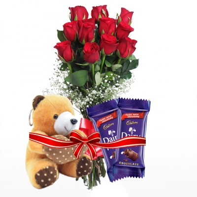 Fresh Red rose Teddy combo