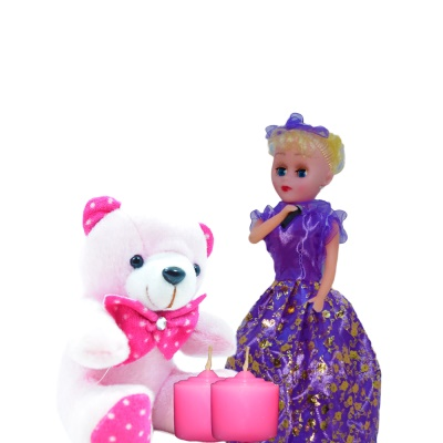 Singing Barbie doll with music and Pink teddy bear children's gift hamper